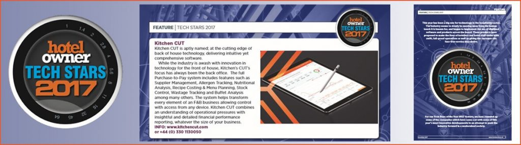 Kitchen CUT Hospitality Software | Tech Star 2017