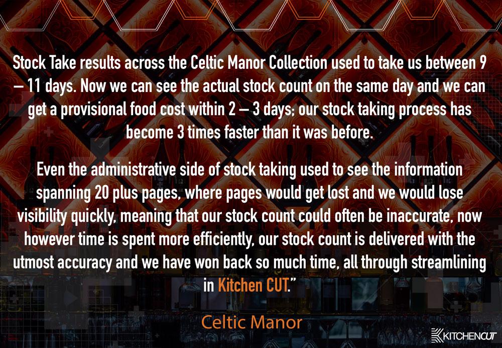 Celtic Manor - Stock Taking